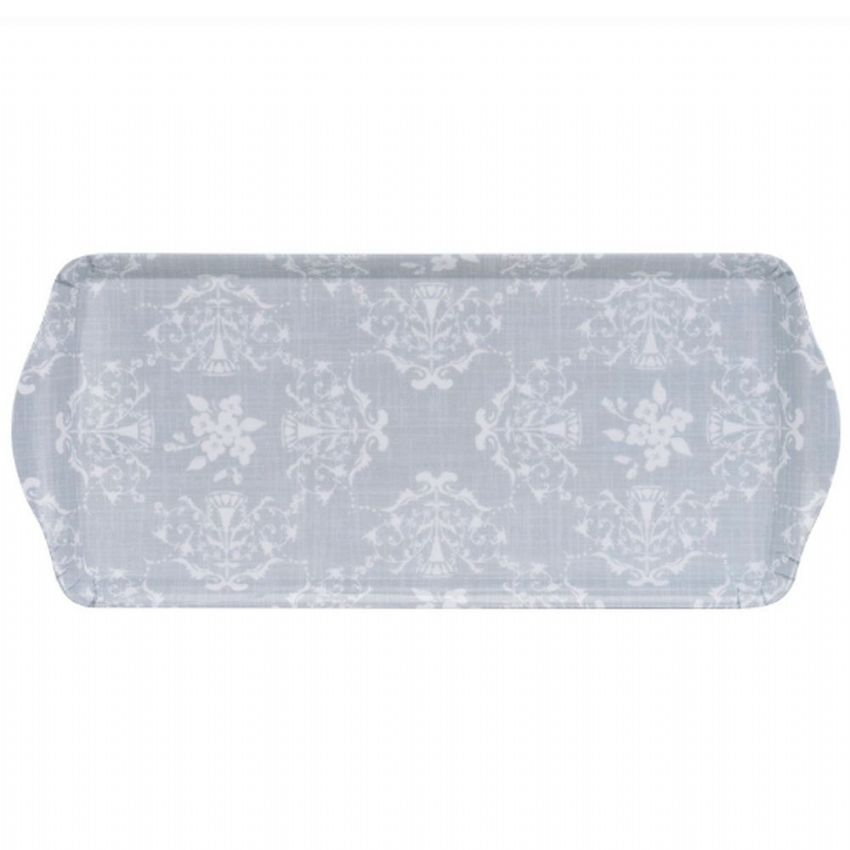 Grey Lace Patterned 38cm Tea & Coffee Tray